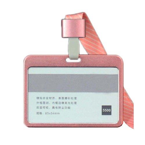 Aluminum Alloy Horizontal ID Card Badge Holder with Neck Lanyard Strap 3PCS, 45