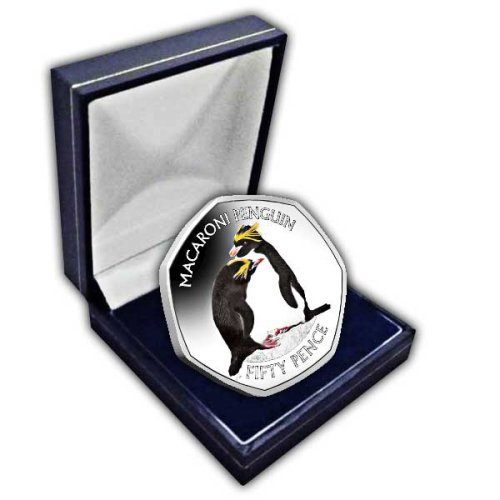 The Macaroni Penguin 2019 50p Cupro Nickel Coloured Coin in a box
