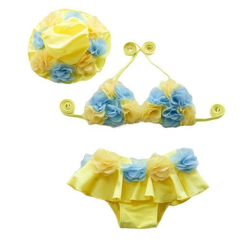 Yellow Flower Girl Two-Piece Swimsuit Girls Swimwear with cap, 15-20 kg