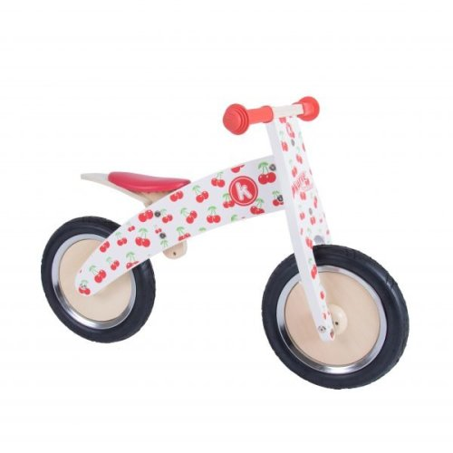 Kiddimoto Kids Kurve Wooden Balance Bike - Cherry Design
