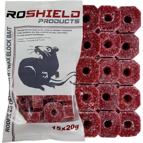 300g Roshield Rat & Mouse Killer Poison Control Blocks - Bait Station Refill Pack (15 x 20g Blocks)