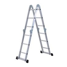 Homcom 3.7m 4-section 12 Steps Multi-purpose Folding Aluminium Ladder
