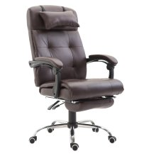 Homcom PU Leather High Back Reclining Swivel Office Chair Footrest