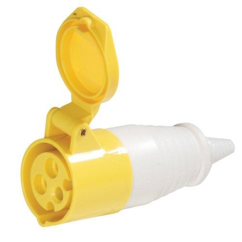 110v 16a Yellow 3 Pin Socket -  16a socket 110v silverline 918545 amp 3 pin plug