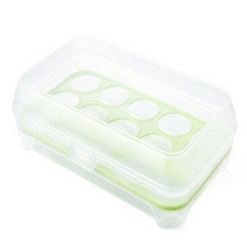 Set of 2 Green Plastic  Egg Storage Boxes Crisper,15 Pockets