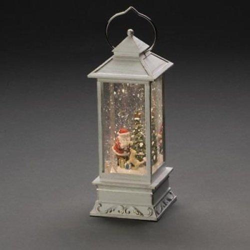Xmas Glitter Water Spinner Snowing WHITE Lantern Santa with Dog warm White LED