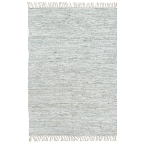 vidaXL Hand-woven Chindi Rug Leather 120x170cm Light Grey Room Floor Carpet