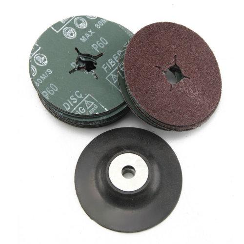 115mm Rubber Backing Pad for Angle Grinder+30 Fibre Sanding Discs Grinder New