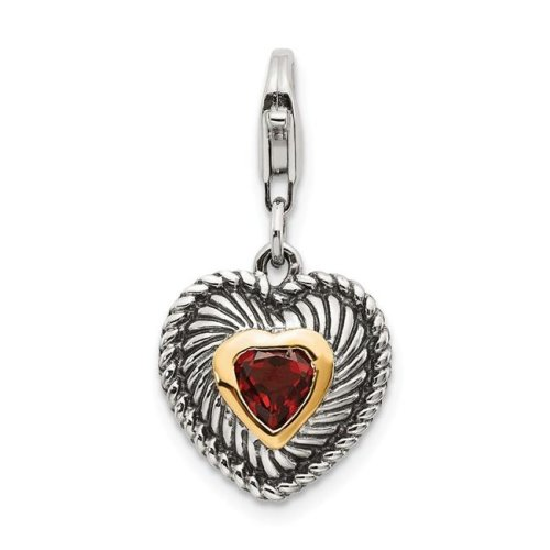 Shey Couture QTC308 14K Gold Sterling Silver Garnet Antiqued Charm