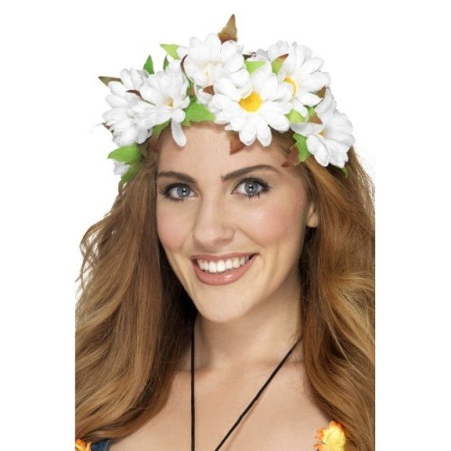 Smiffy's 42797 Daisy Floral Headband (one Size) -  floral headband daisy fancy dress costume hippie accessory flower