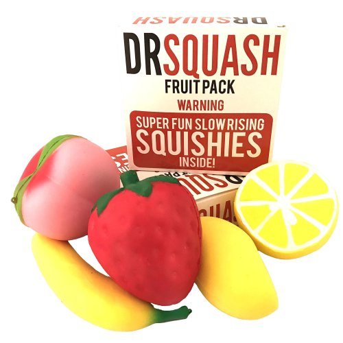 Dr Squash Squishies Pack - Jumbo Squishies Slow Rising Fruit for Boys and Girls 5 Pack Lemon Banana Mango Strawberry Peach