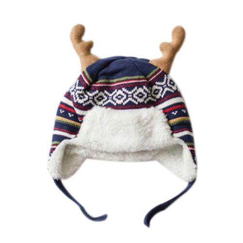 Warm Hat Knitted Hat Plus Velvet Ear Protection Hat BLUE elk Pattern