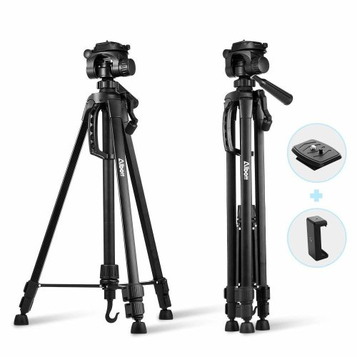 "Albott Camera Tripod 55"" 140cm Aluminum Lightweight Travel Portable Tripod with 3-Way Head, Tripod Bag, Phone Clip and Spare 1/4"" Quick Release..."