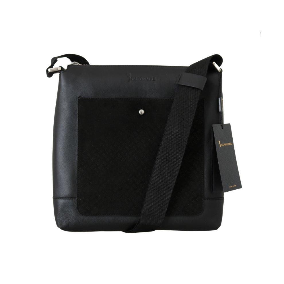 ... Billionaire Italian Couture Black Leather Messenger Shoulder Bag - 1 ... 667fea26d47a9