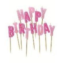 Happy Birthday Candle Pink Glitz