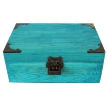 Creative Retro Lock With Wooden Box Desktop Rectangle Storage Box-Blue