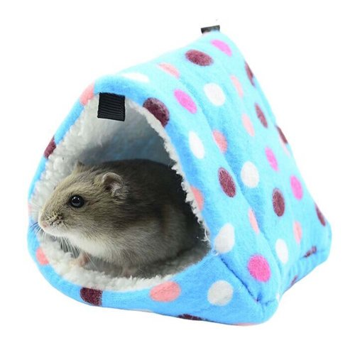 Pyramid Pet House for Small Furry Animals Lovely Winter Warm Cotton Cage BLUE