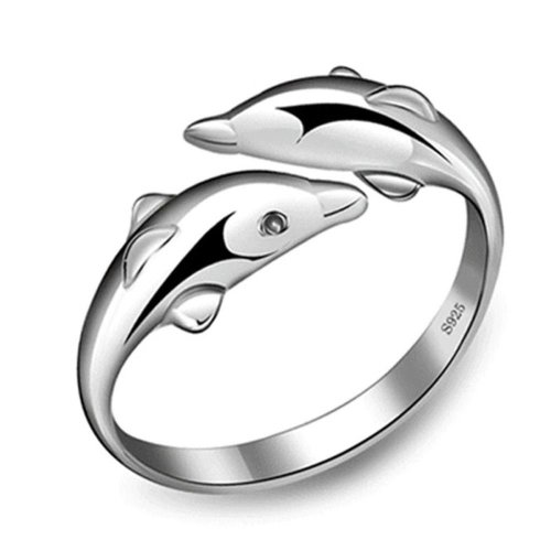 Silver Plated Dolphin Ring Size P 1/2 (UK) Adjustable Double Fish Open Thumb Wrap Pisces