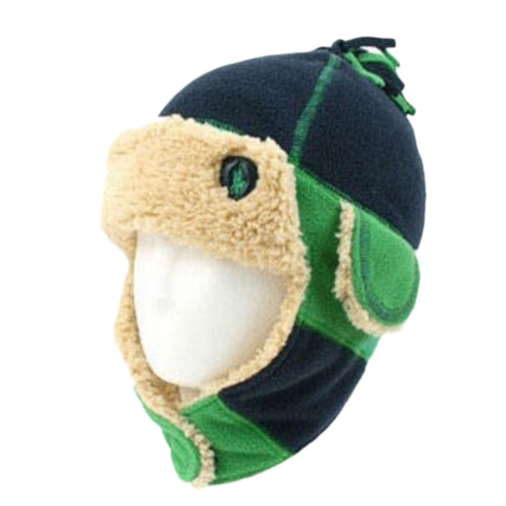 e549a54a Winter Baby Kids Warm Earmuffs Hats Scarf Plush Flight Caps Best Gift-Green  ...