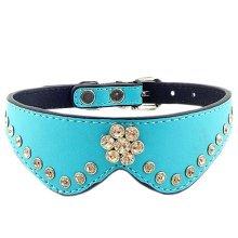 Cute PET Bling Bling Collar Beautiful Dog Leather Basic Collar M(27-31CM) BLUE