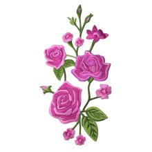 DIY Sew on Patches Embroidery Applique Cloth Appliques Patches - Rose Red Peony