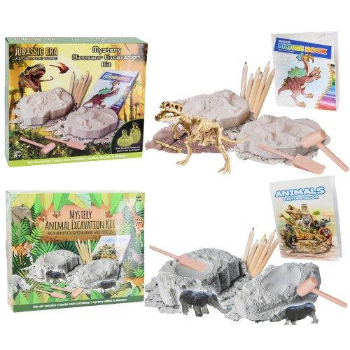 Dinosaur / Wild Animal Excavation Kit + Colouring Book and Pencils