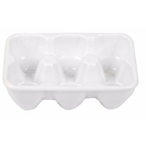 Porcelain White Egg Tray Holds 6 Eggs. Lovely Egg Holder Egg Fridge Rack