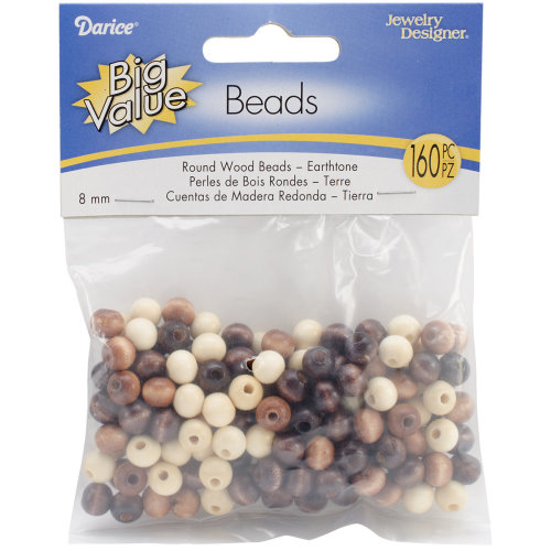 Round Wood Beads 8mm 160/Pkg-Earth Tones