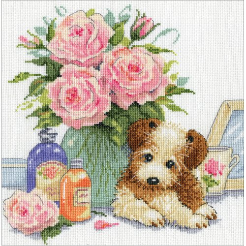 """Design Works Counted Cross Stitch Kit 10""""X10""""-Puppy W/Roses (14 Count)"""