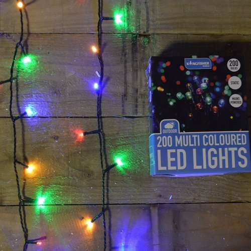 200 LED (14m) Static Outdoor Christmas Tree Lights on Green Wire Multi Coloured