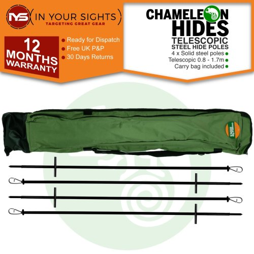 Chameleon Hides Pigeon shooting hide poles. 4x solid steel decoy hide poles including carry bag