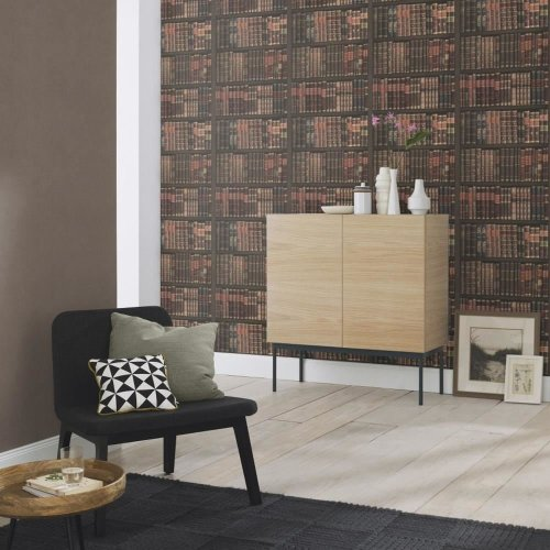 Rasch Book Shelf Pattern Wallpaper Books Case Library Textured Faux Effect Roll[BURGUNDY 525809]