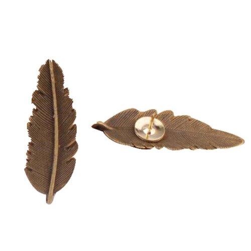 4 Pcs Creative Pushpin Push Pin Thumbtack Office Supplies, Retro feather