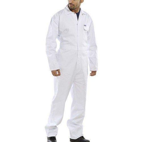 "Click CDBSW34 Cotton Boilersuit White 34"" Waist"