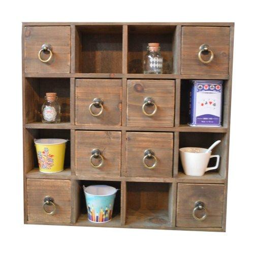 Multidrawer Storage Unit Ring Handle   Shabby Chic Drawer Shelf