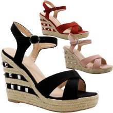Women Studded Espadrilles Wedge Platform Sandals