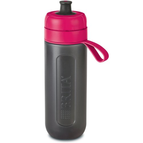 BRITA fill&go Active Water Filtration Bottle 0.6L with 1 MicroDisc Filter - Pink