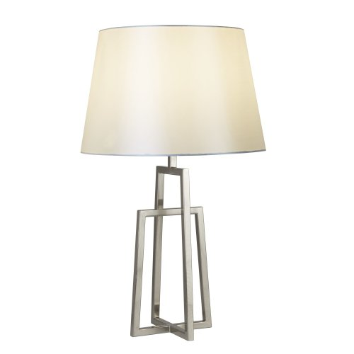 Searchlight York Table Lamp Crossed Frame Satin Silver White Tapered Shade