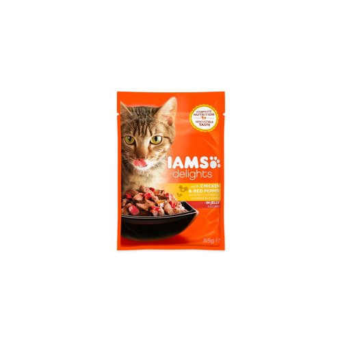 Iams Delights Cat Pouch Chicken & Red Pepper In Jelly 85g (Pack of 24)