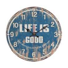 "Blue Pattern Retro Wall Clock Hanging Decorative Home Clock Round 12"""