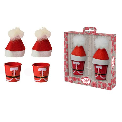 Eddingtons Cosy Up Christmas Santa Egg Cups with Hat Cosies, Set of 2