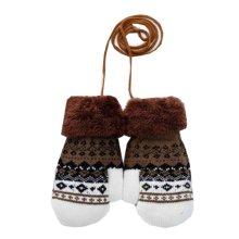 Flower 3-8 Years Children Gloves Warm Knit Neck Hung Mittens Green