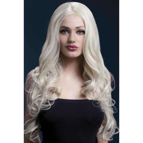 Fever Women's Rhianne Wig, One Size, Blonde -  wig rhianne fever long blonde fancy dress smiffys heat resistant faux skin parting professional