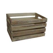 Small Oak Effect Wooden Open Top Storage Trough