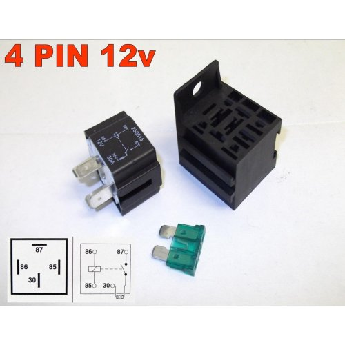 4 PIN 12v 30Amp FUSED RELAY AUTOMOTIVE NORMALLY OPEN WITH BASE ( IN-28-100 )