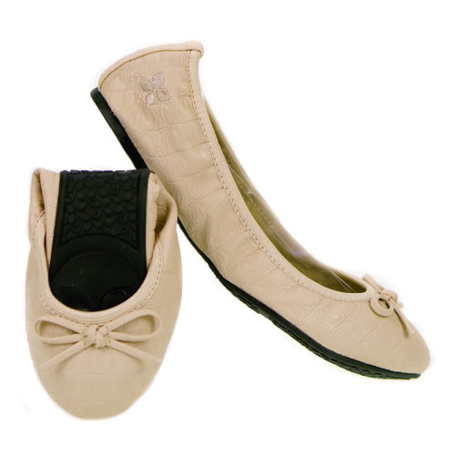 Butterfly Twists Foldable Ladies Flat Shoes Nude