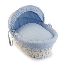 White Waffle Wicker Moses Basket - Blue