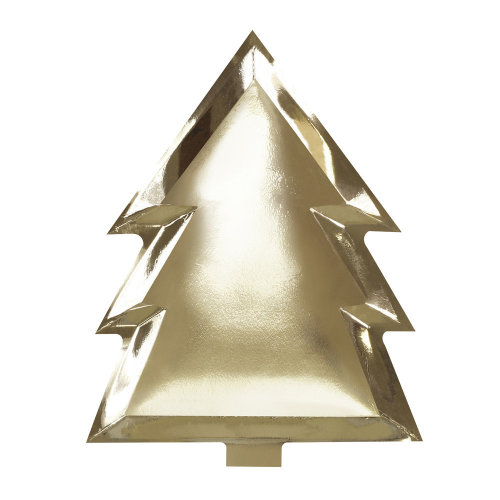 Gold Foiled Christmas Tree Shaped Paper Party Plates x 6