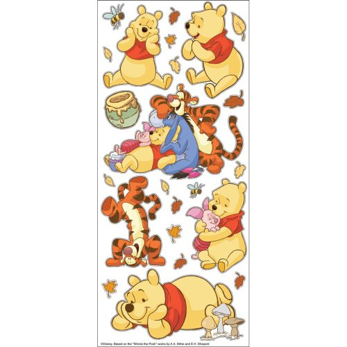 Disney Large Flat Stickers-Pooh W/Characters