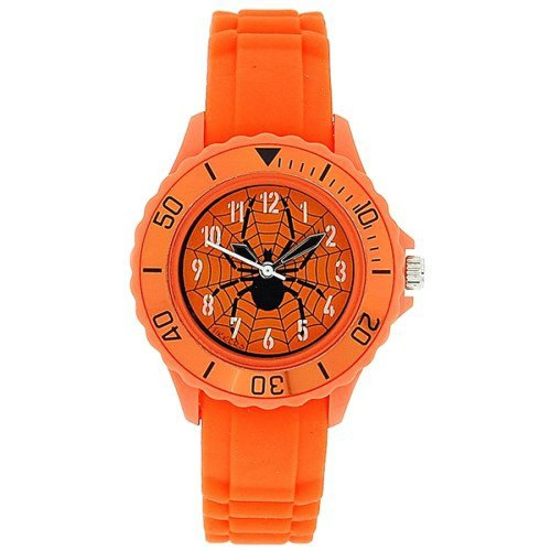 Tikkers Boys Analogue Spider Web Orange Rubber Strap Sports Watch TK0032